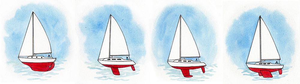 Distintos tipos de quilla: quilla corrida, quilla recta, quilla de bulbo y quilla de pantoque. Ilustración: Claudia Myatt.