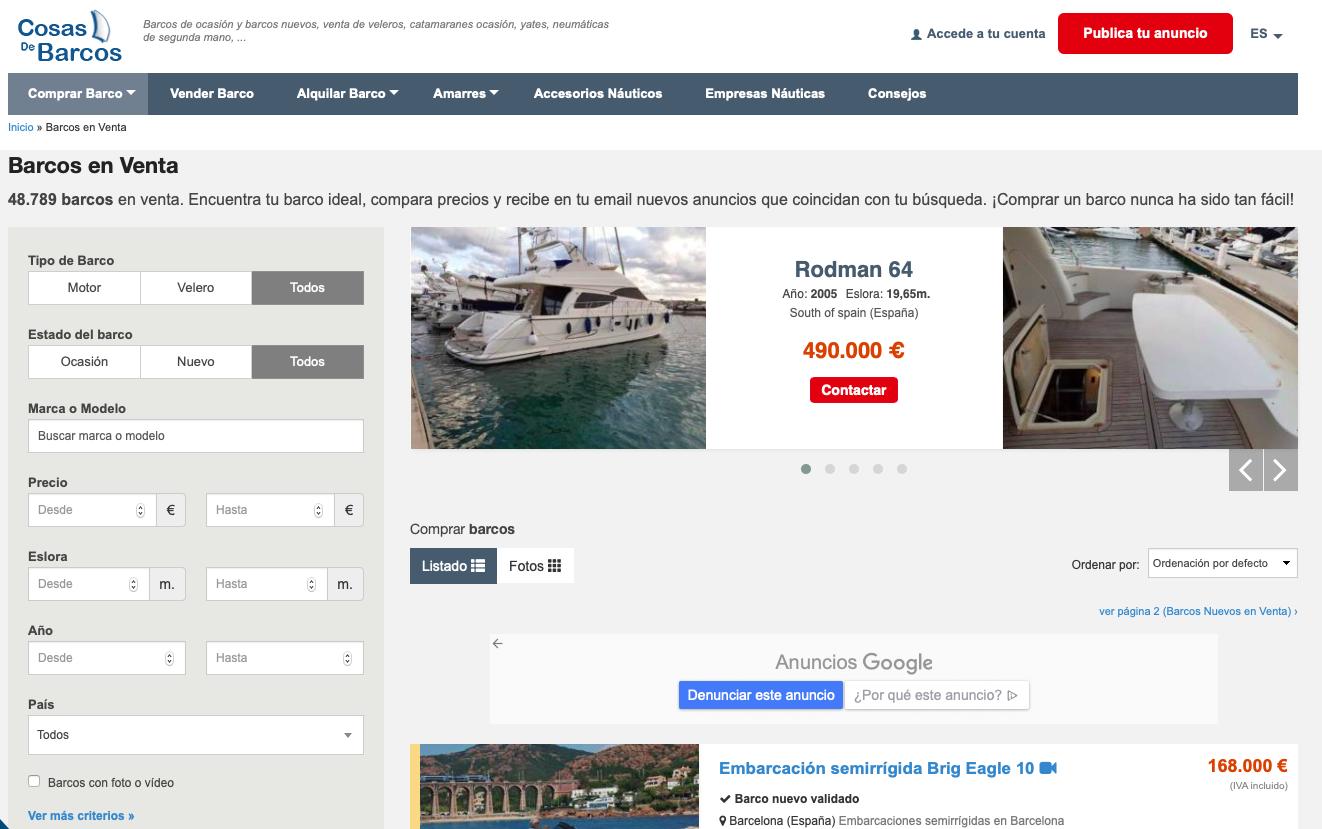 Vender barco online