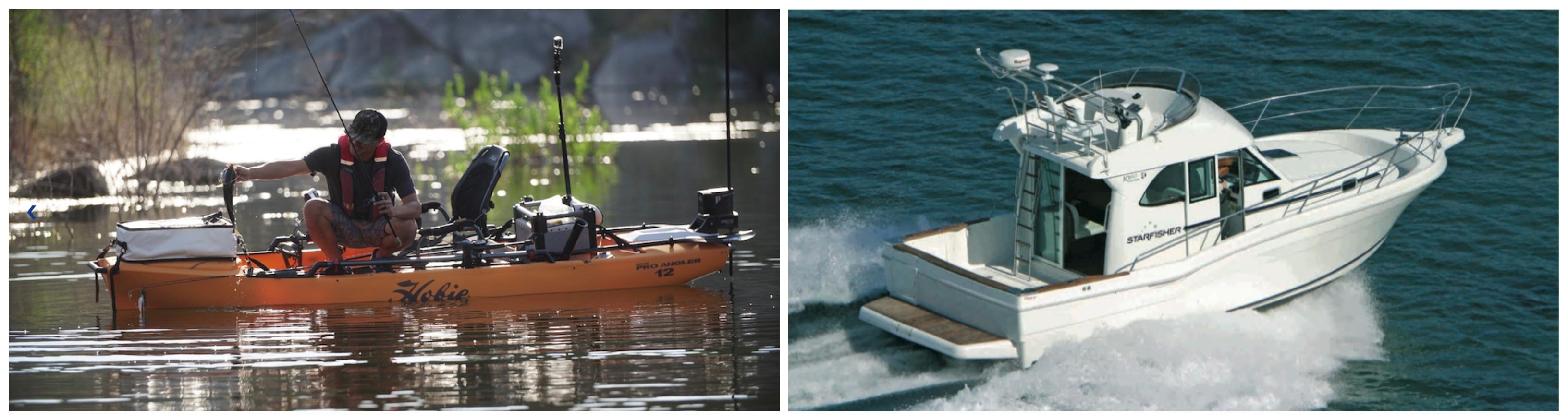 kayak y barco de pesca