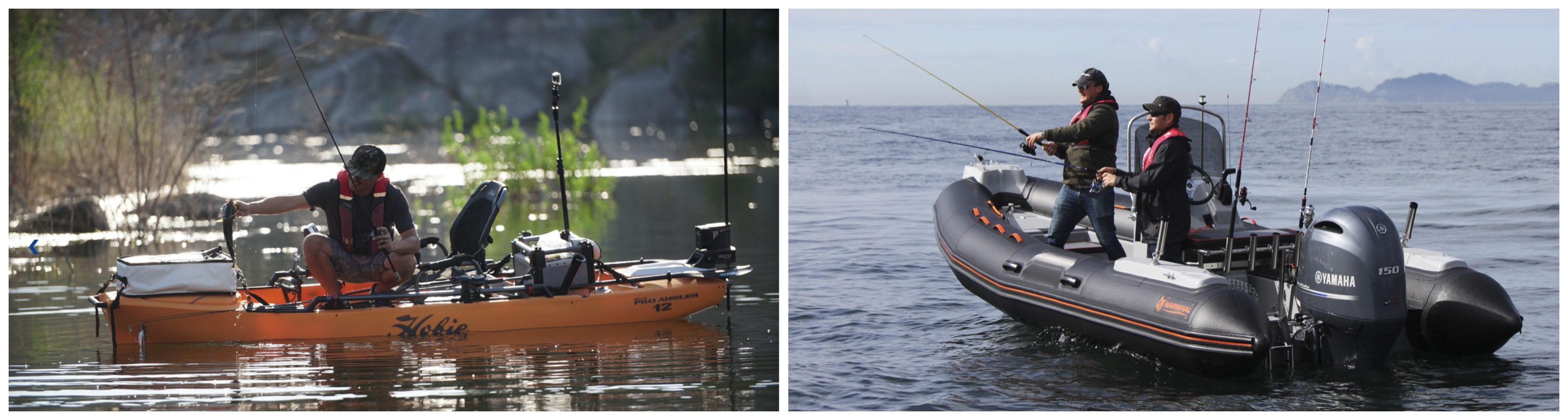 kayak y neumática de pesca