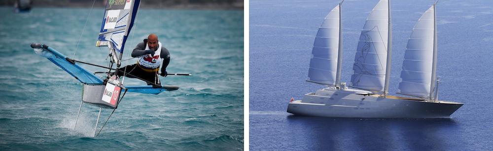 Hay veleros, como los Moth y el Sailing Yacht A que parecen desafiar las categorías, pero si los miramos un poco más de cerca vemos que también tienen casco, apéndices sumergidos y aparejo como los diseños más tradicionales. Foto Moth: Martina Orsini.