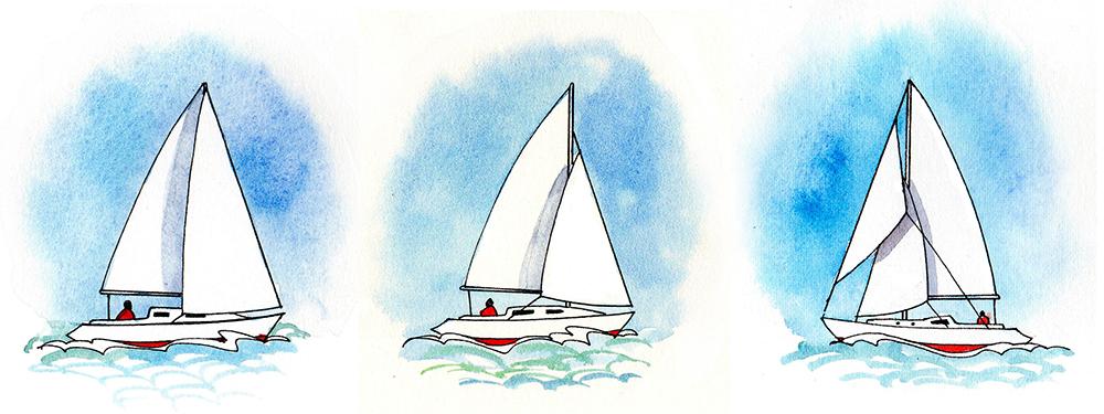 Aparejos: Sloop a tope de palo, sloop fraccionado y cúter. El cúter dispone de dos velas de proa. Ilustración: Claudia Myatt.